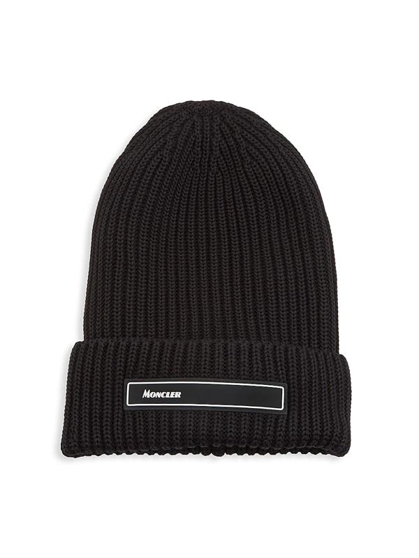 Moncler Men's Logo Ribbed Beanie In Black