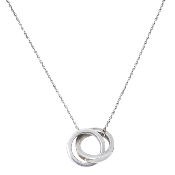 Pre-owned Tiffany & Co 1837 Interlocking Circles Silver Pendant Necklace