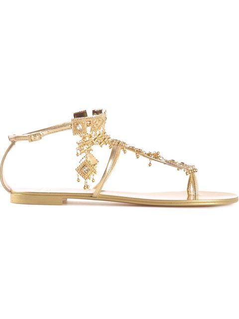 Giuseppe Zanotti Diamond Dangling Sandals In Gold