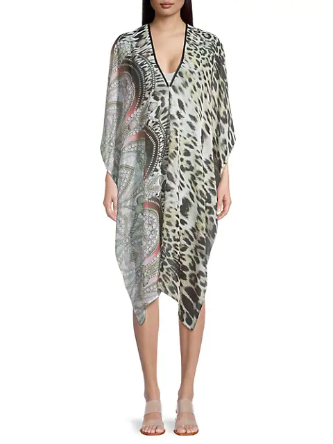 La Fiorentina Printed High-low Coverup In Yellow Green