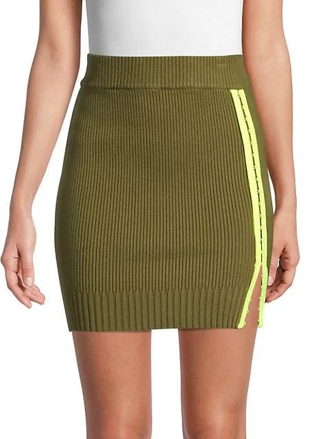 For Love & Lemons Paige Ribbed Mini Skirt In Olive