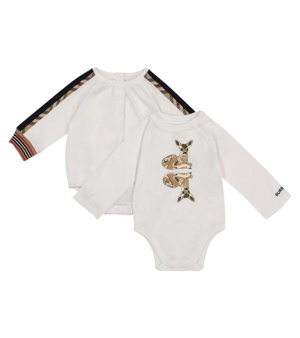 Burberry Babies' Set Of Two Cotton Bodysuits In White