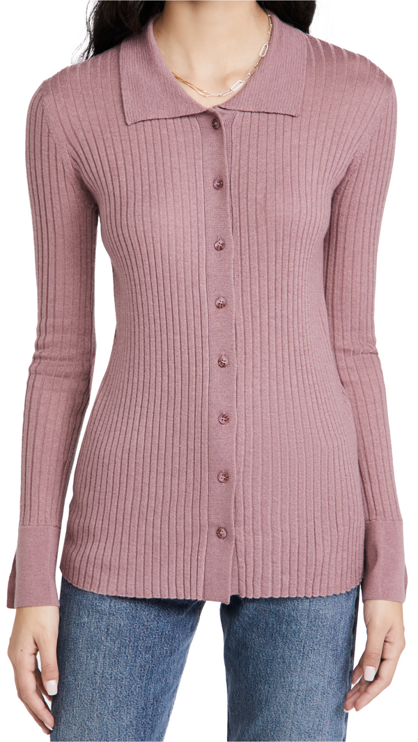 Sablyn Reign Cashmere Rib Knit Cardigan In Antique Rose