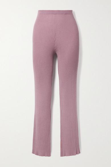 Sablyn Jordan Ribbed Cashmere Straight-leg Pants In Antique Rose