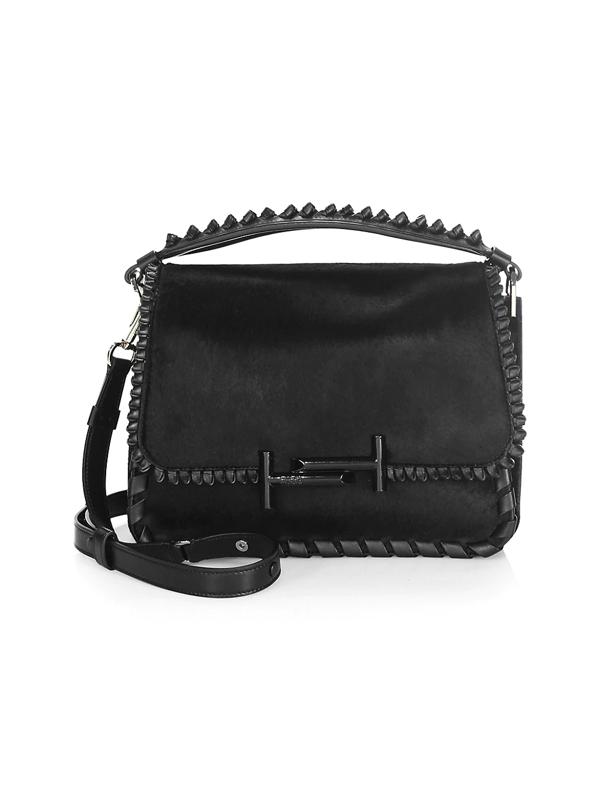 Tod's Women's Studded Leather Messenger Bag In Black