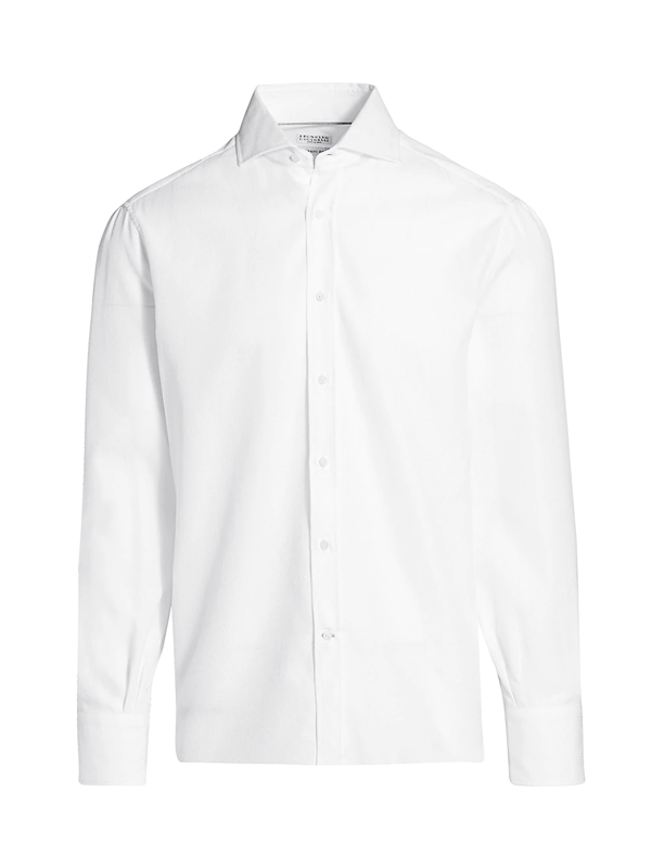 Brunello Cucinelli Men's Textured Sport Shirt In White