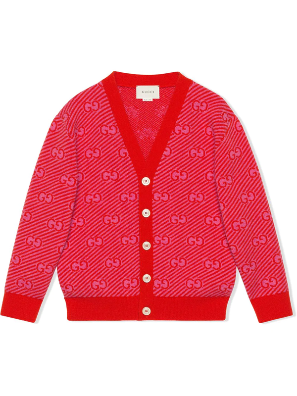 Gucci Kids' Baby Gg Wool Cardigan In Red