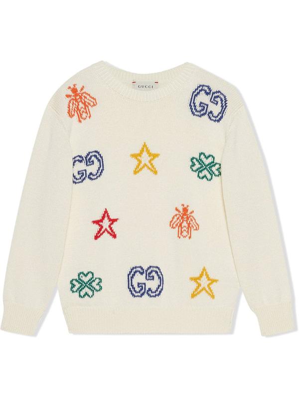 Gucci Kids' Children's Cotton Jumper With Symbols In White