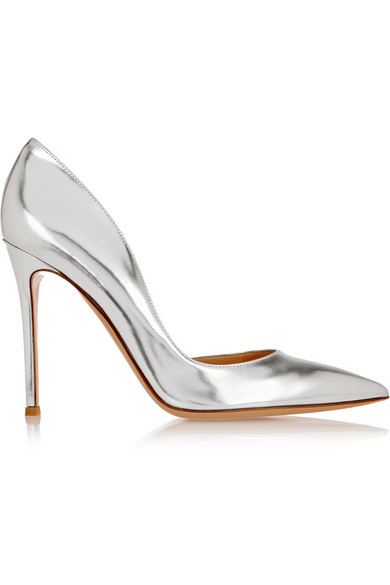 Gianvito Rossi Elipsis Metallic Leather Pumps In Silver