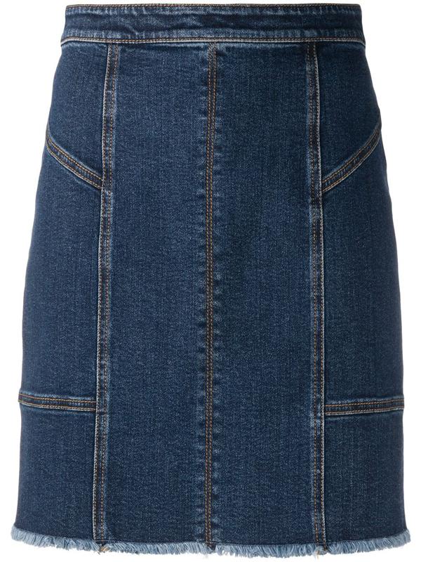 Alexander Mcqueen Panelled Denim Mini Skirt In Blue