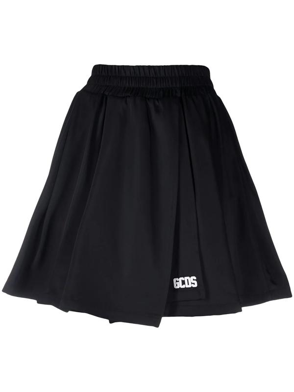 Gcds Pleated Mini Skirt In Black