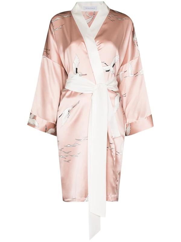 Olivia Von Halle Mimi Pearl Bird Print Silk Robe In Pink