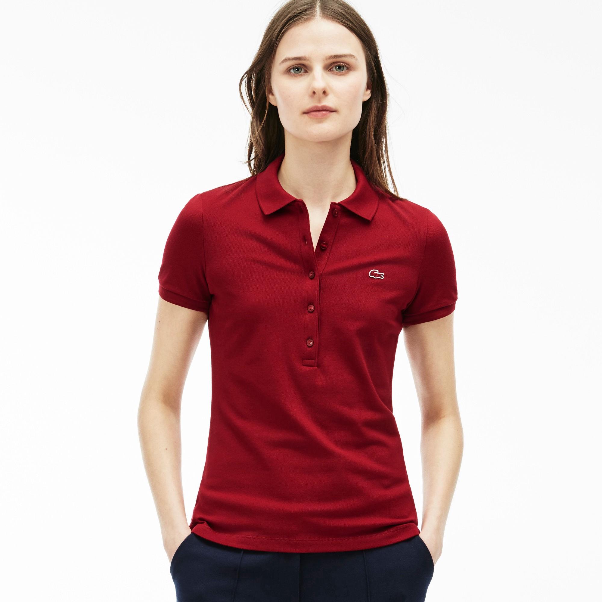 d6e9ede2 Women's Slim Fit Stretch Piqué Polo Shirt - Bordeaux