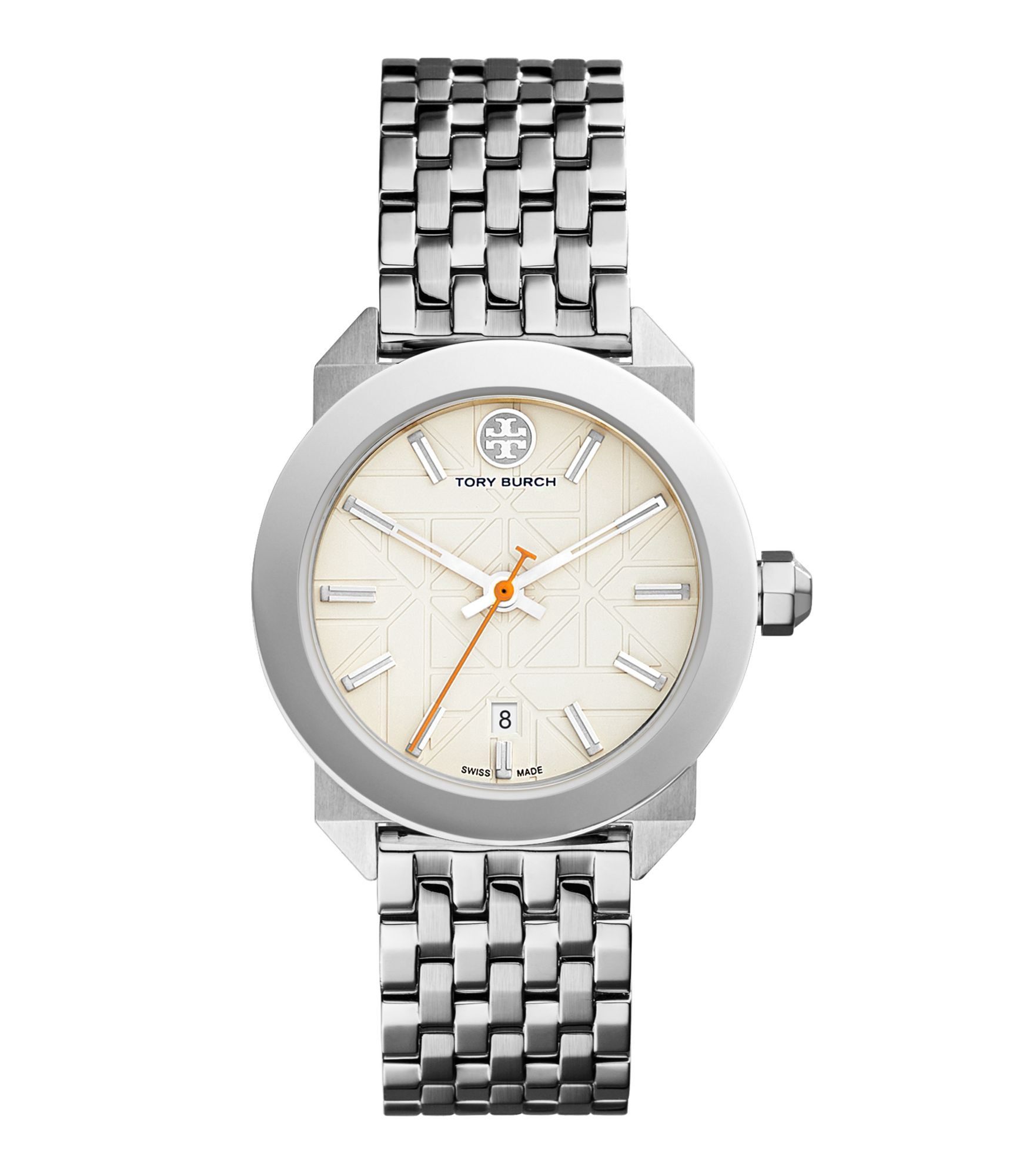 Tory Burch Whitney Watch, Stainless Steel/ivory, 35 Mm In Silver
