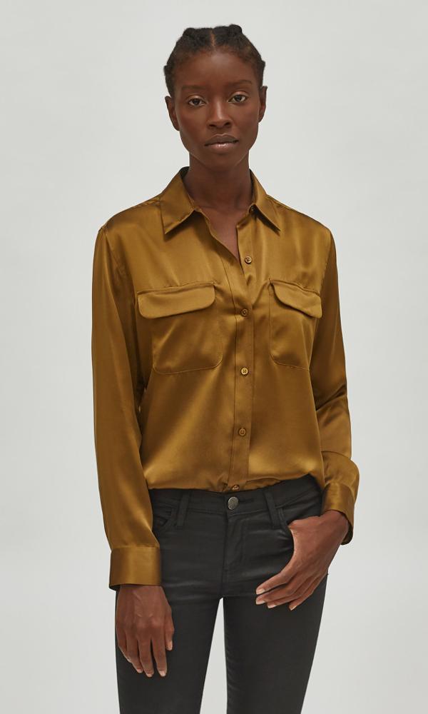 Equipment Signature Silk Satin Shirt In Breen