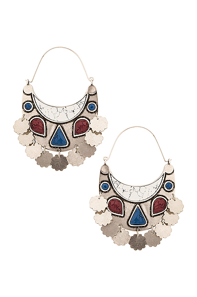 Isabel Marant Move Your Body Earrings In White & Silver