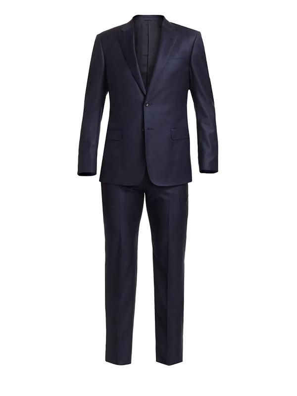 Giorgio Armani Men's Micro-check Wool Suit In Navy