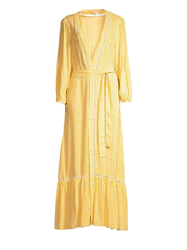 Paloma Blue Women's Bowie Kimono Maxi Dress In Gold Cable