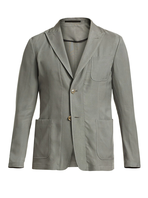 Giorgio Armani Men's Cupro Washed Two-button Blazer In Light Grey