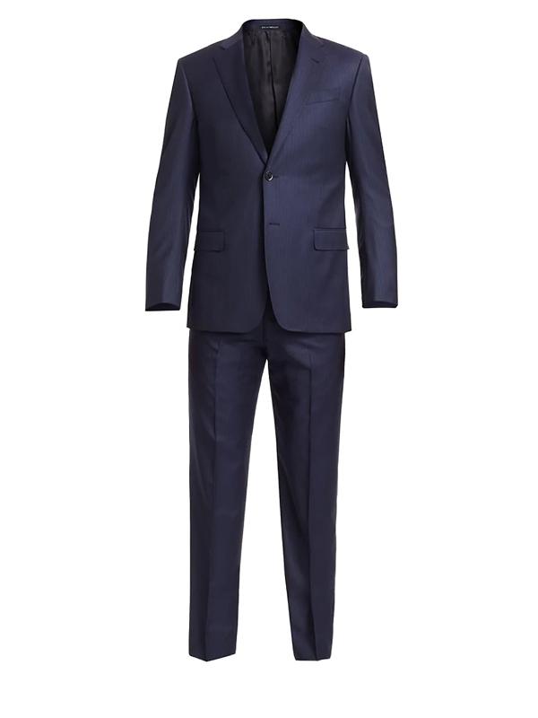 Emporio Armani Men's Pinstripe Wool Two-piece Suit In Navy