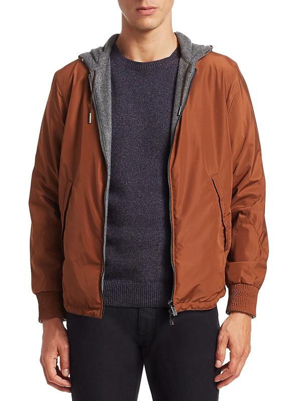 Ermenegildo Zegna Men's Fox Reversible Cashmere Hooded Jacket In Dark Beige Solid