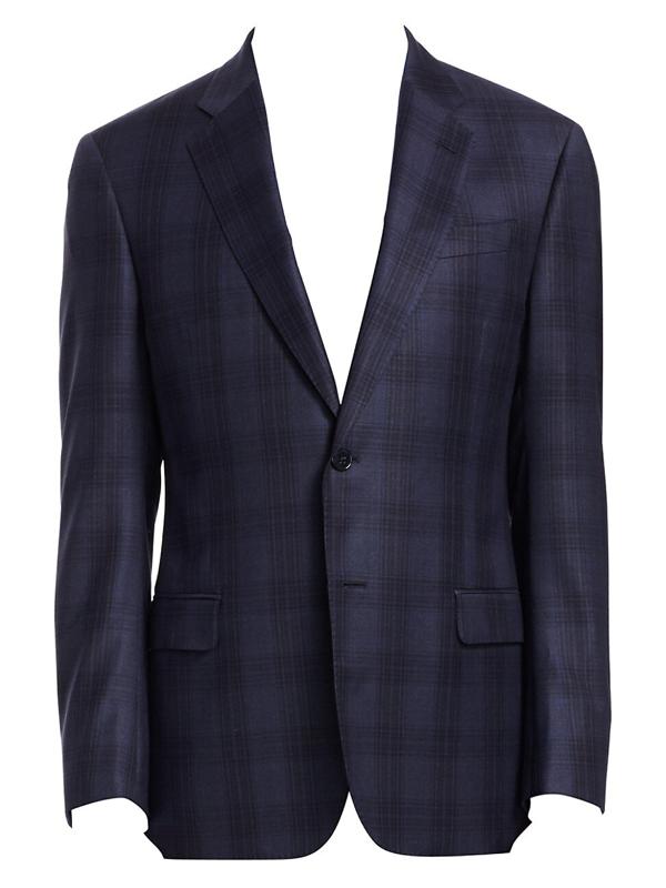 Emporio Armani Men's G-line Plaid Wool Sportcoat In Blue