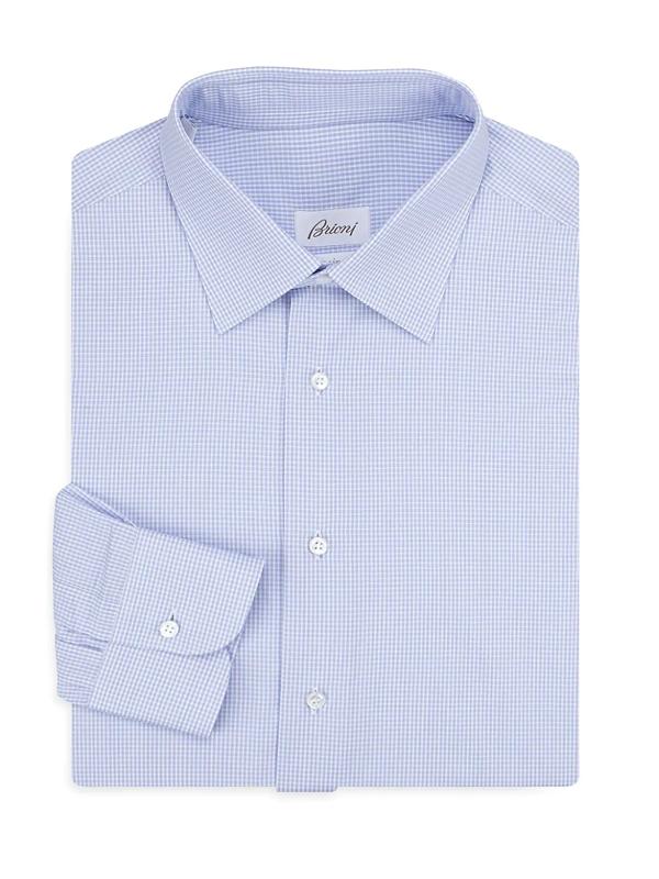 Brioni Men's Regular-fit Windowpane Cotton Dress Shirt In White Sky Blue