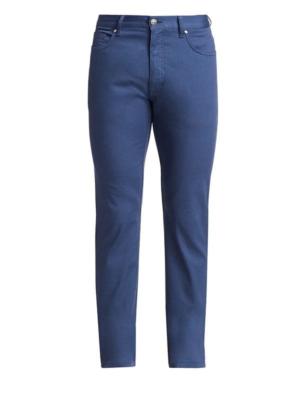 Ermenegildo Zegna Men's Skinny Cotton Trousers In Teal