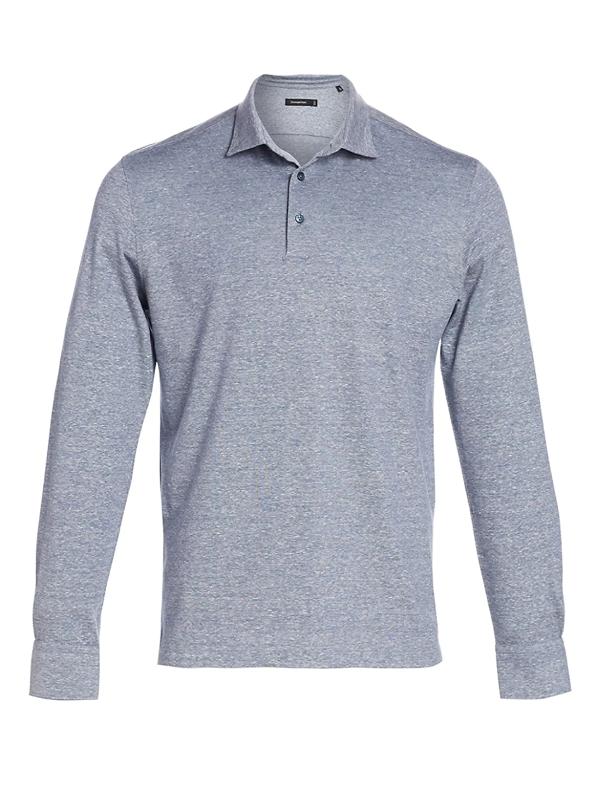 Ermenegildo Zegna Men's Melange Long Sleeve Polo In Blue