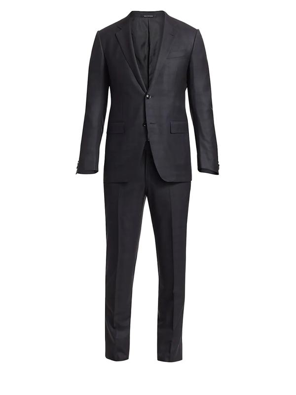 Ermenegildo Zegna Men's Torino Wool Textured Suit In Dark Charcoal