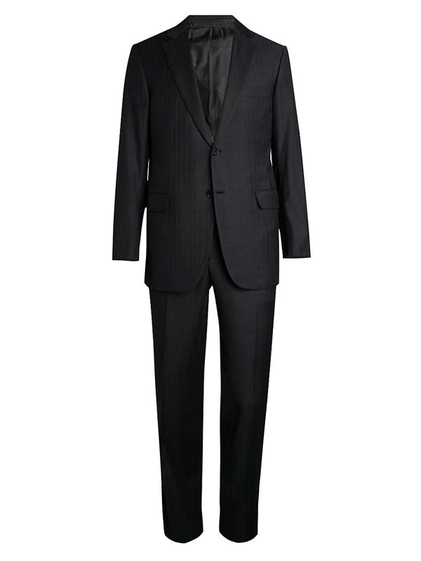 Brioni Men's Stripe Single-breasted Virgin Wool Jacket In Grey
