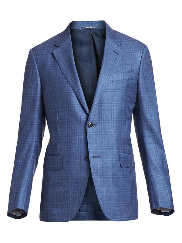 Ermenegildo Zegna Men's Windowpane Single-breasted Jacket In Blue