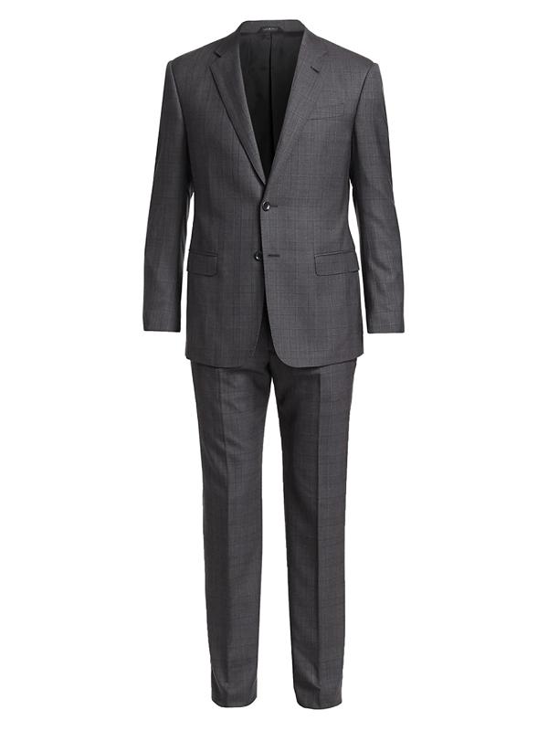 Giorgio Armani Men's Plaid Wool Suit In Grey