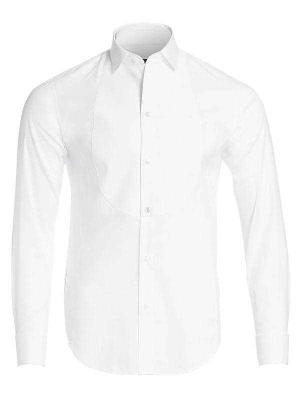 Giorgio Armani Men's Mesh Bib Tuxedo Shirt In White
