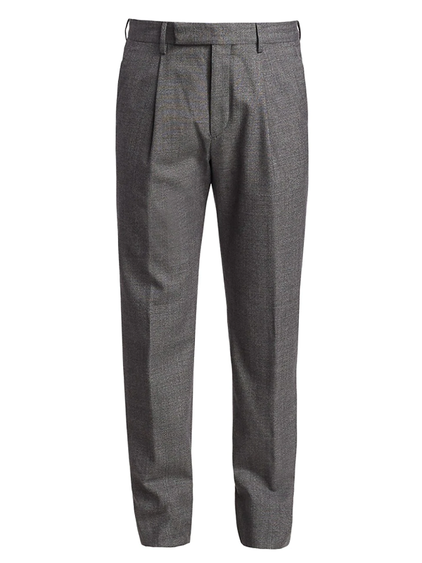 Ermenegildo Zegna Men's Melange Wool-blend Pants In Grey