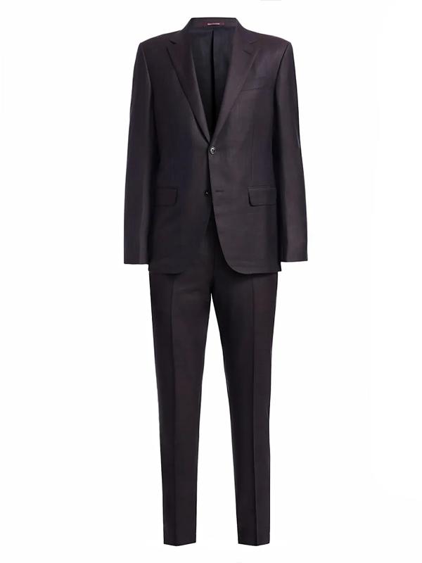 Ermenegildo Zegna Men's Wool, Silk & Linen Blend Suit In Navy Brown