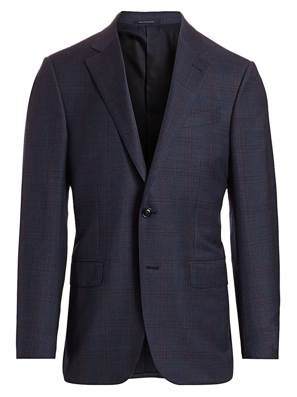 Ermenegildo Zegna Men's Plaid Wool Jacket In Blue