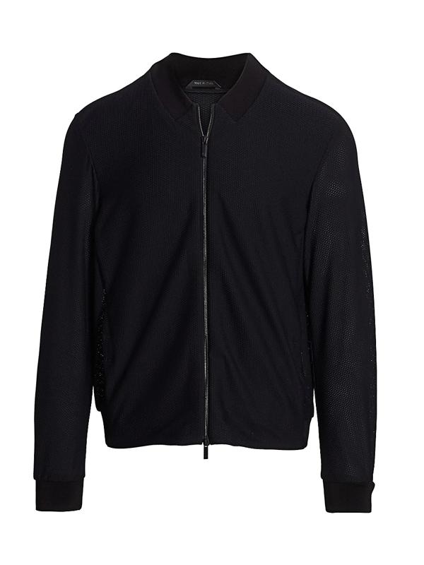 Giorgio Armani Men's Mesh-knit Bomber Jacket In Black