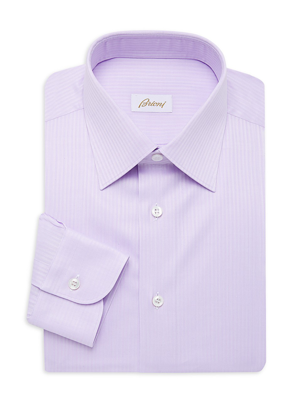 Brioni Men's Herringbone Dress Shirt In Lavender
