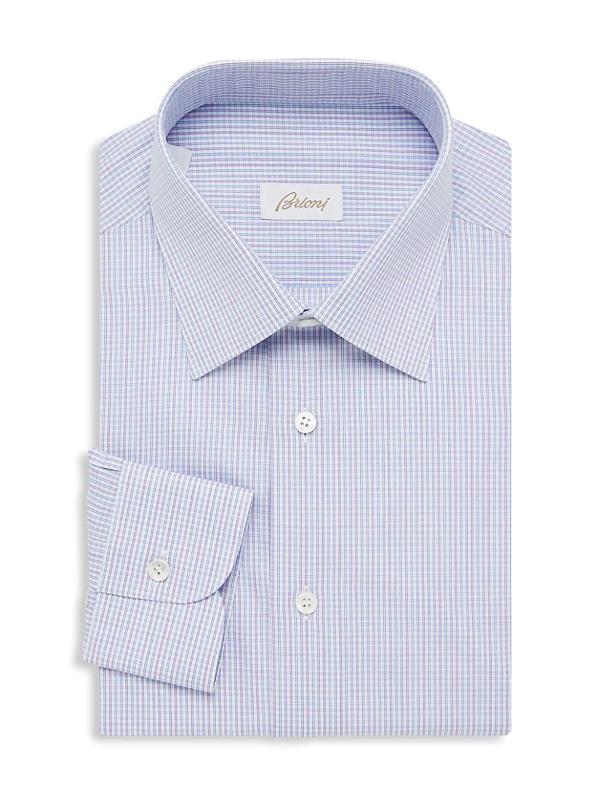 Brioni Men's Plaid Dress Shirt In Pink Blue