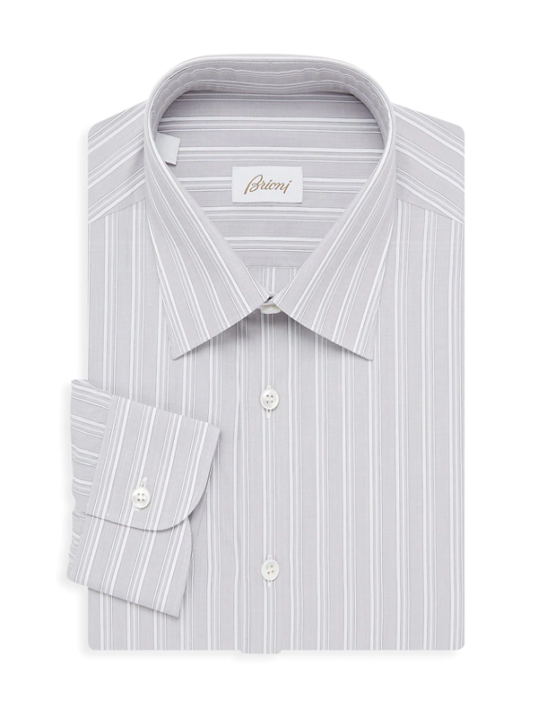 Brioni Men's Stripe Dress Shirt In Grey