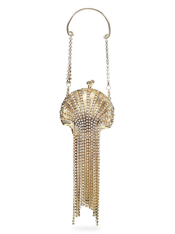 Rosantica Women's Baby Shell Embellished Fringe Clutch In Gold