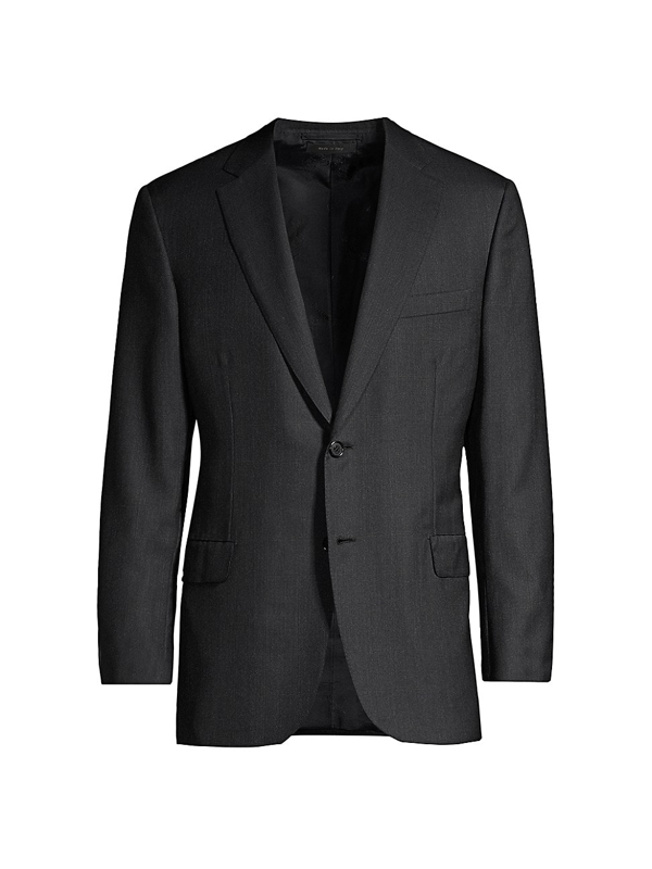 Brioni Men's Windowpane Wool Suit Jacket In Grey