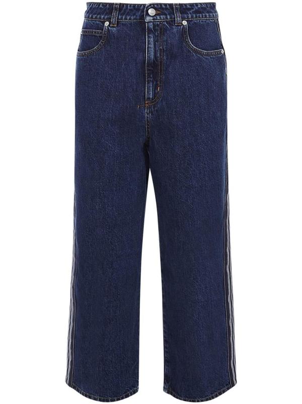 Alexander Mcqueen Wide Denim Jeans With Side Band In Blu