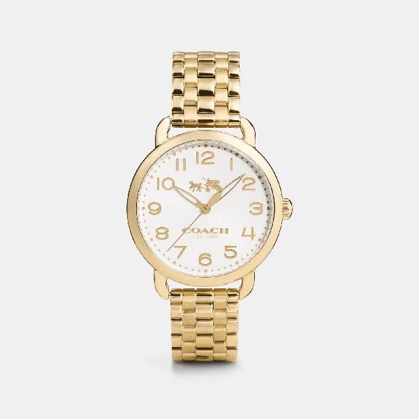 Coach Delancey Watch, 36mm In Gold