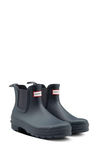 Hunter Original Waterproof Chelsea Rain Boot In Navy/ Navy