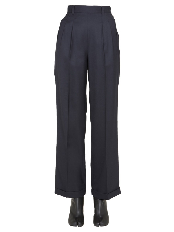 Maison Margiela Trousers With Pinces In Blue