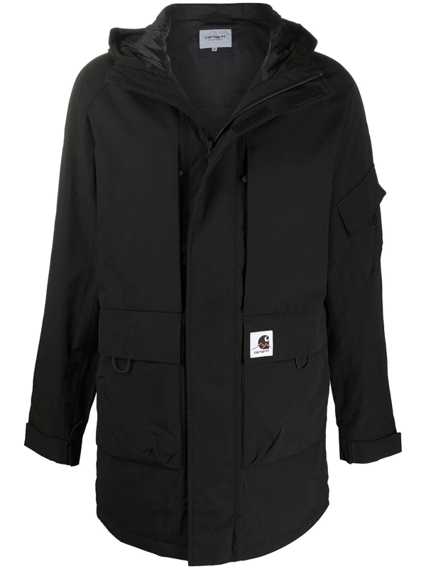 Carhartt Logo-patch Hooded Coat In Black
