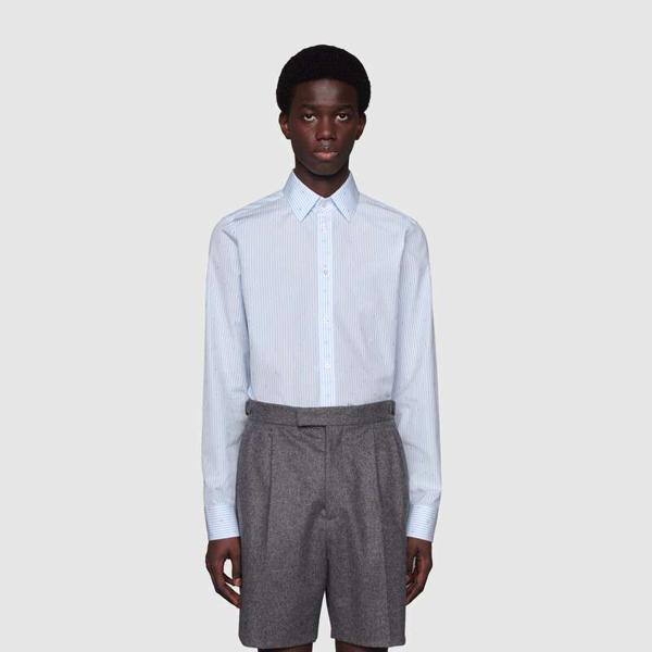 Gucci G Square Stripe Fil Coupé Cotton Shirt In Blue