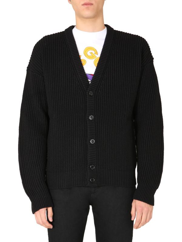 Gcds Oversize Cardigan With Jacquard Logo In Black